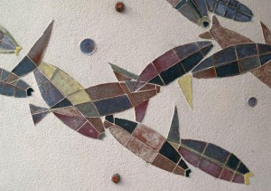 Karlsruhe, Germany: Tullabad: fish tile design (1954-1955, architects Erich Schelling and Helmut Stephan)