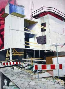 Hendrik Voerkel, 2008, Baustelle, 180 x 130 cm, Öl auf Leinwand