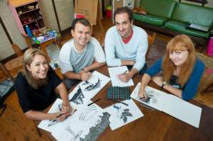Fairfield Advance - Pictured LTR: Mona Moradveisi (26), Murtaza Ali Jafari (27), Safdar Ahmed (39) and Zanny Begg (42) - Participants of a refugee art project dubbed Undrawing the Line are working on a mural that will be featured around the Powerhouse Youth Theatre in Fairfield NSW Australia. Refugees currently under community detention are taking part. All photographs taken at a Fairfield home, NSW Australia